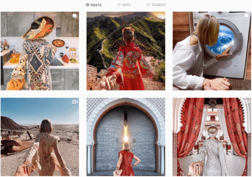 instagram feed with different images of woman facing away from camera