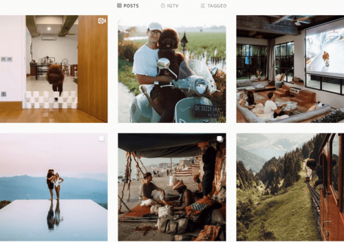 instagram feed of man in various locations