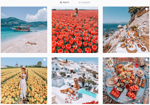 instagram feed with images of flowers and clear blue water