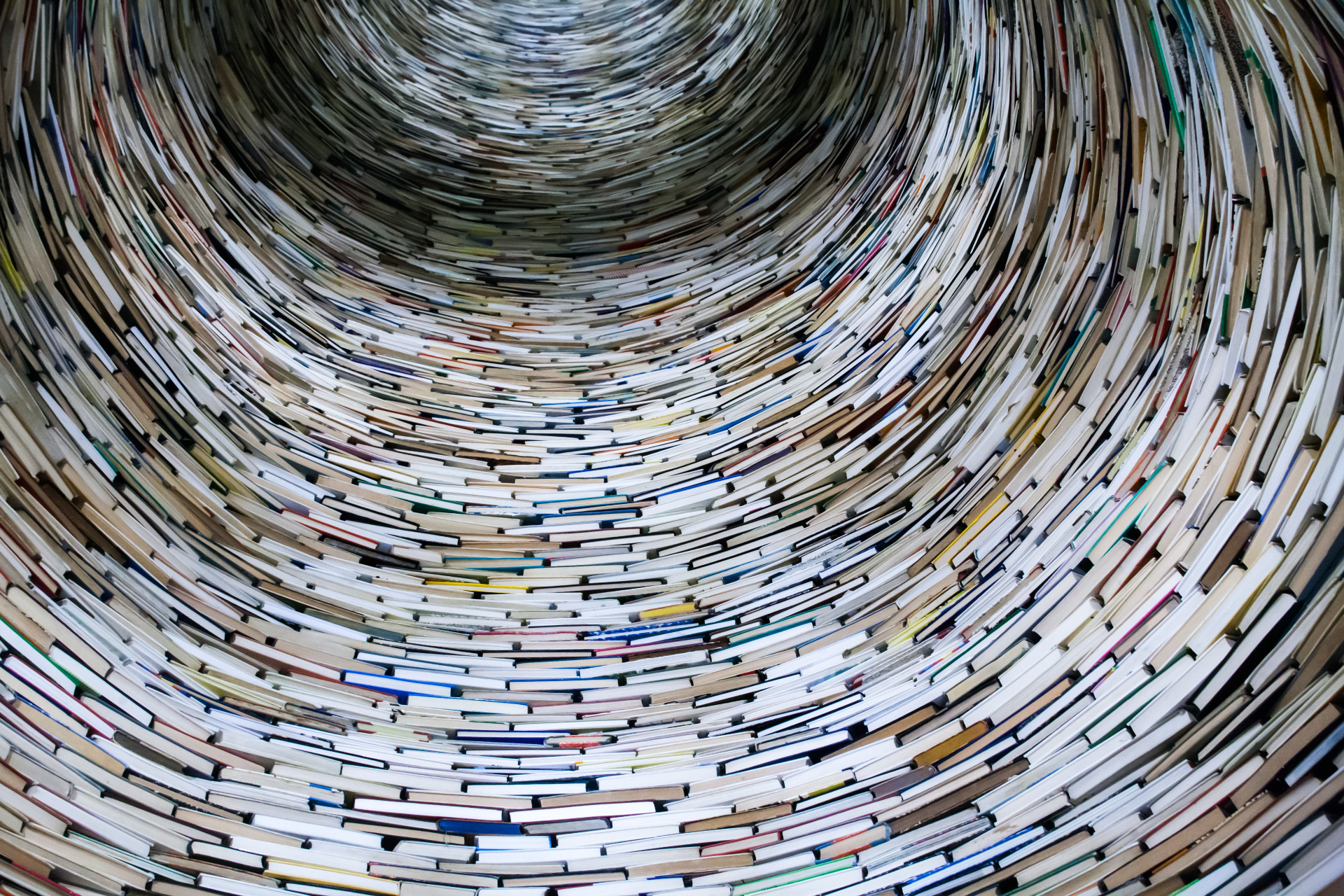 the inside view on a tower of stacked books