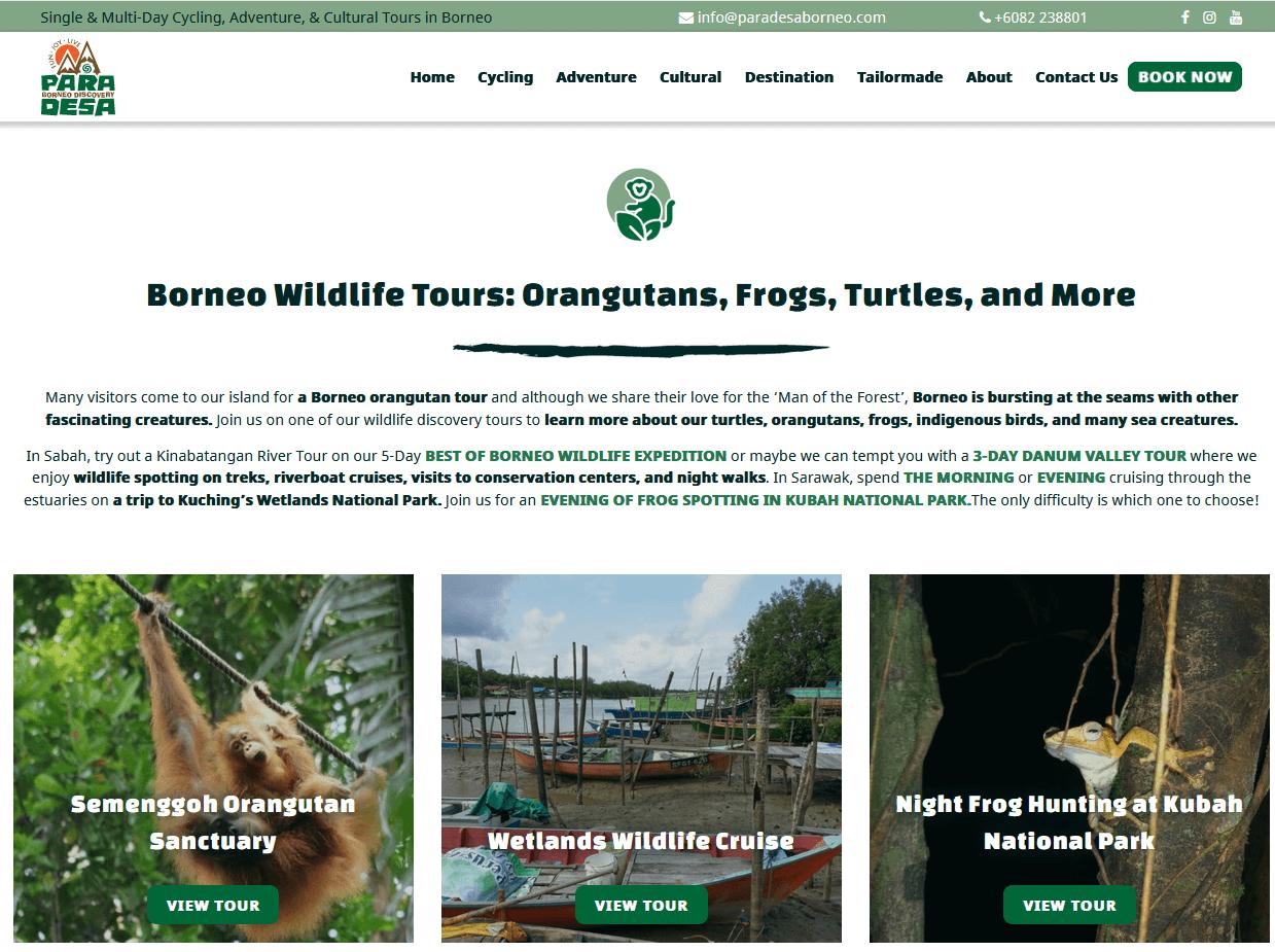 Paradesa Borneo Wildlife landing page