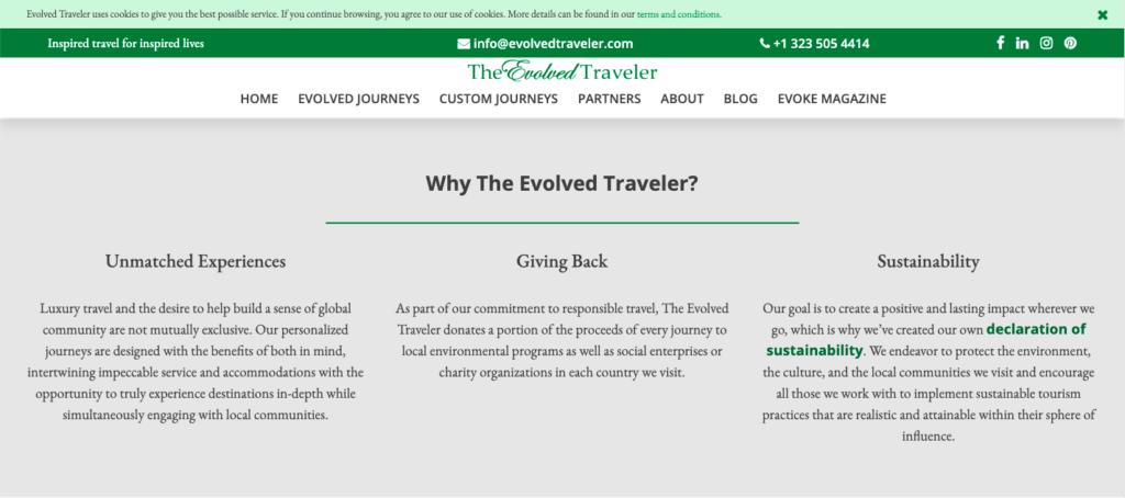 Evolved Traveller unique selling points