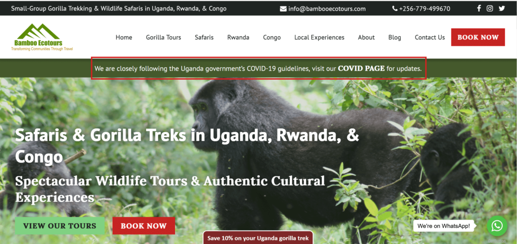 Home page of Bamboo Ecotours with Covid banner highlighted