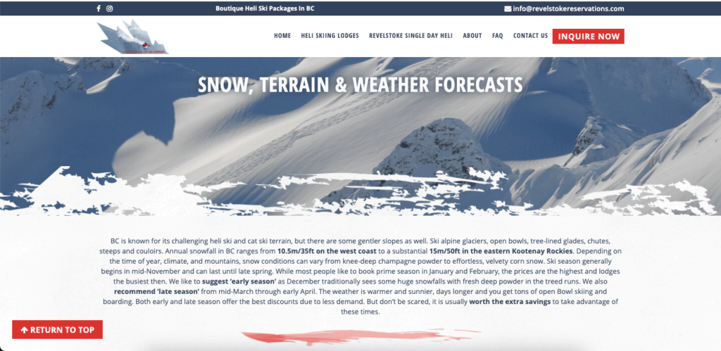 Weather forecasts for skiing.