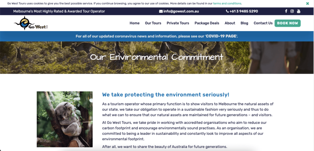 Go West's environmental impact page