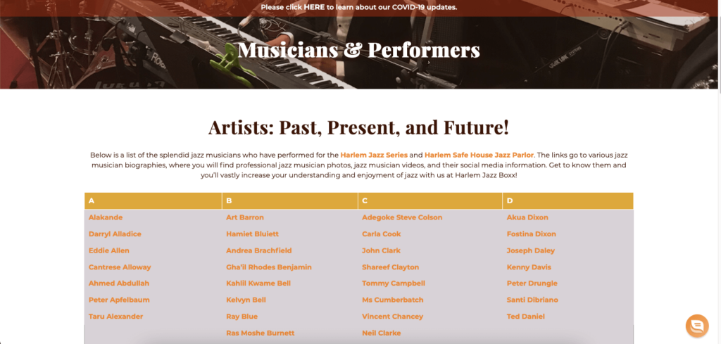Lists of musician profiles on Harlem Jazz Boxx