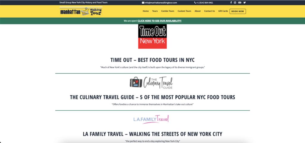 Manhattan Walking Tour's press appearances.