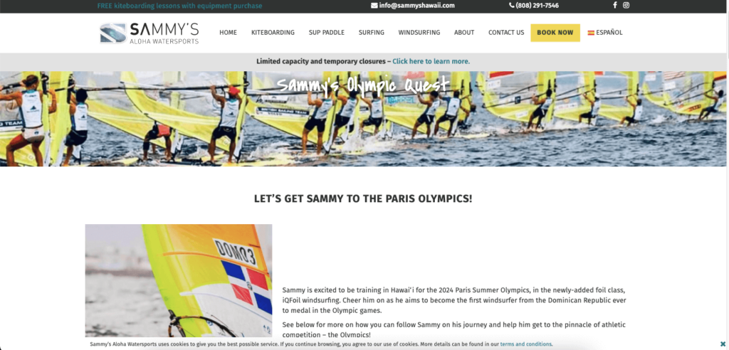 A page promoting Sammy to go to the Olympics