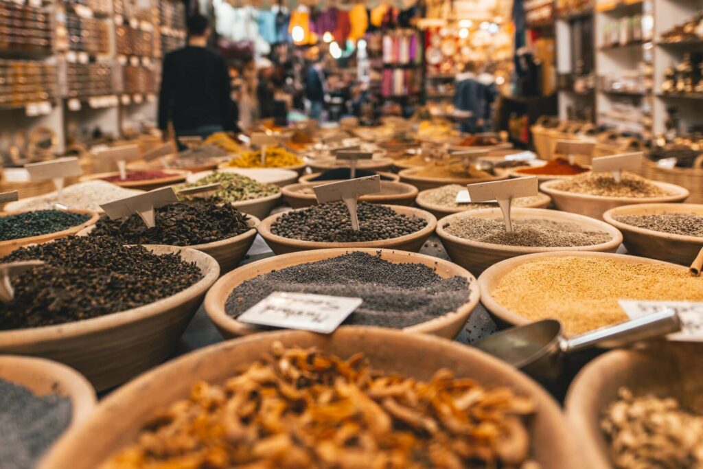 An arangement of spices in a market