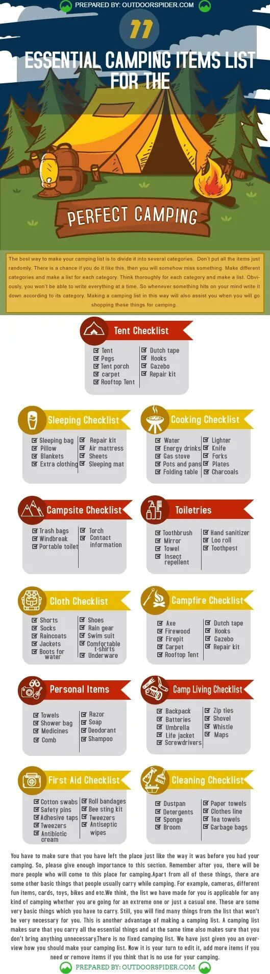 Infographic Essential Camping Items List for the Perfect Camping