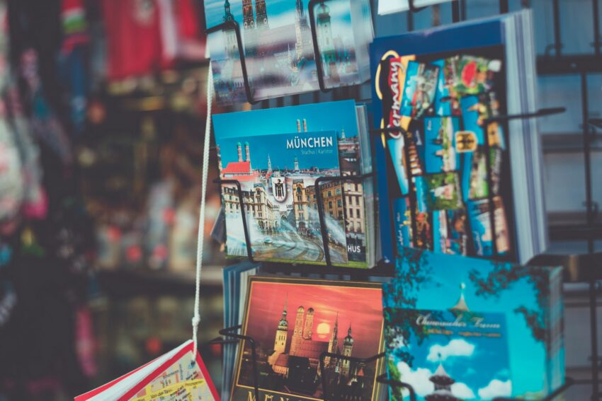 A rack of postcards and souvenirs for Munich