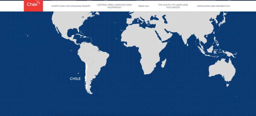 A global map with Chile highlighted