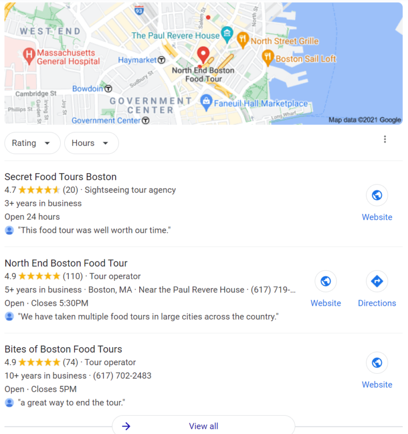 Google search results for 'boston food tour'