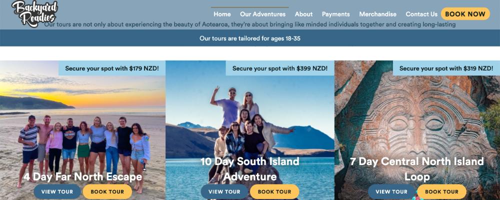 Screenshot of Roadies website with happy customers aged between 18 to 15.