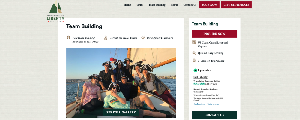 Screenshot of Sail Liberty website with happy customers on team building exercise package