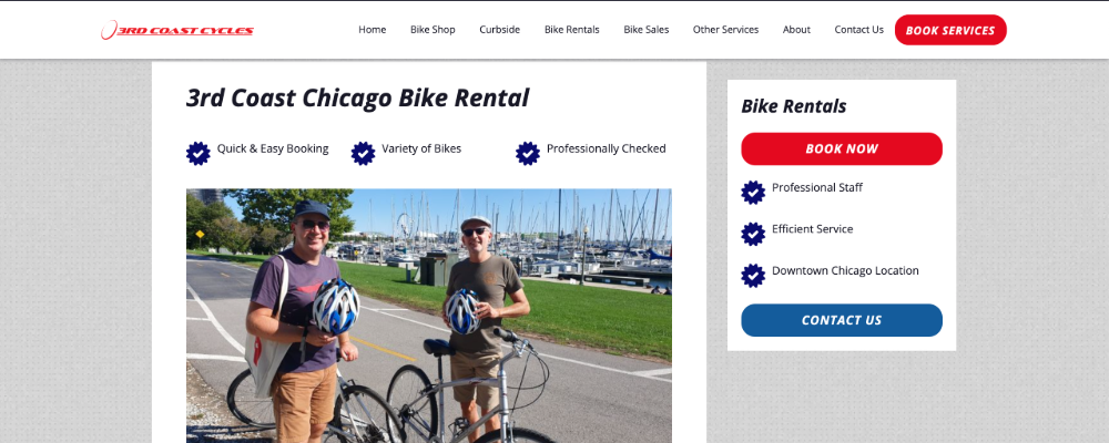 Screenshot of happy customers renting bikes for 3rd Coast Cycles