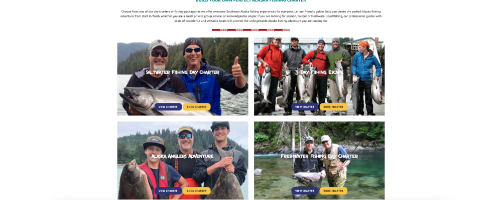 Screenshot of Wrangell Alaska Fishing Website with happy customers featured on the flexicards
