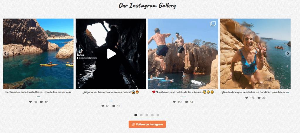 Excursions Barcelona Instagram Integration