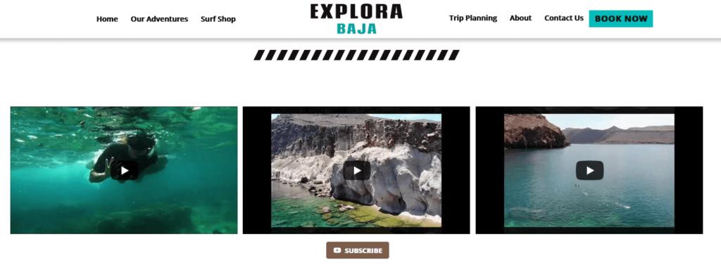 Explora Baja YouTube Website Integration
