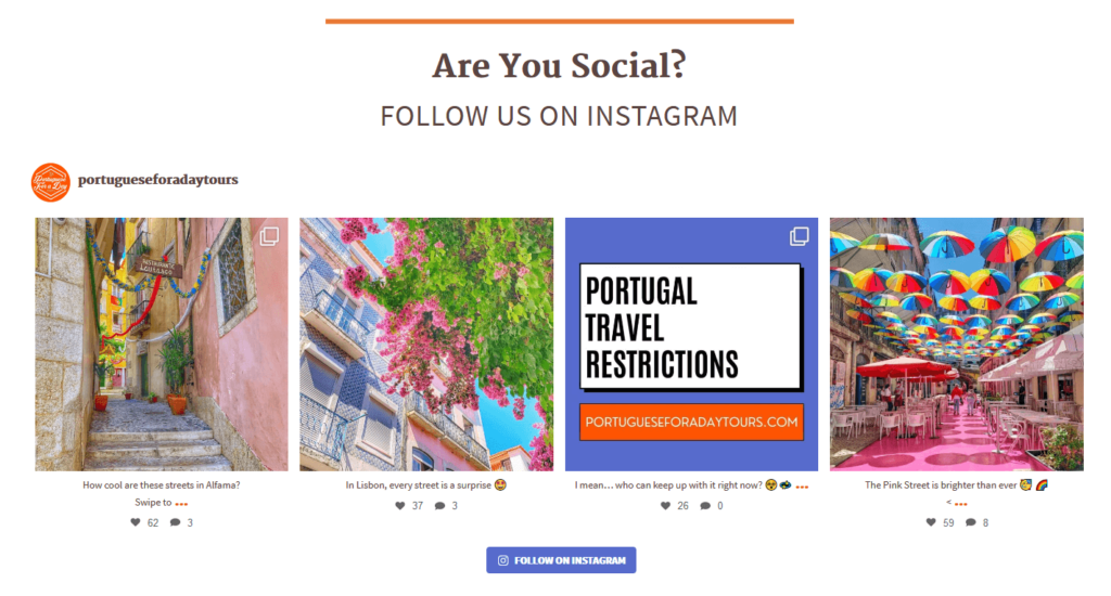 Portuguese for a Day Tours Instagram Integration