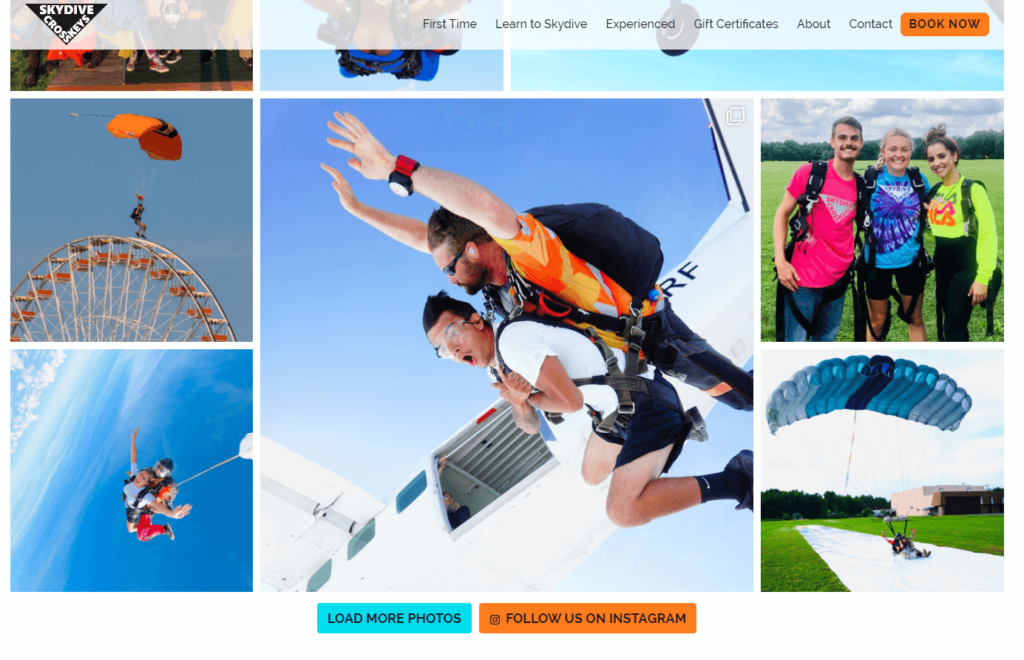 Skydive Cross Keys Instagram Integration