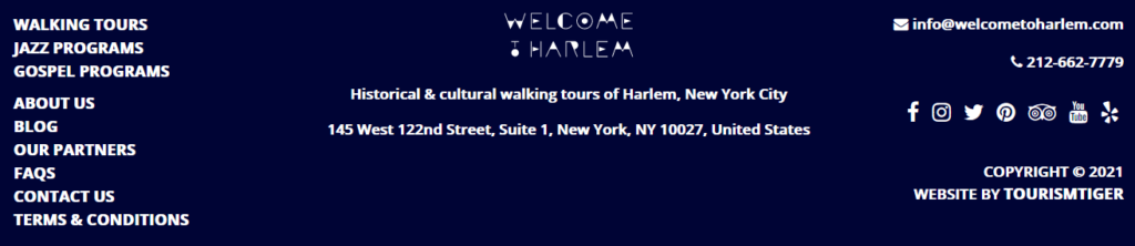 Welcome to Harlem Website Footer